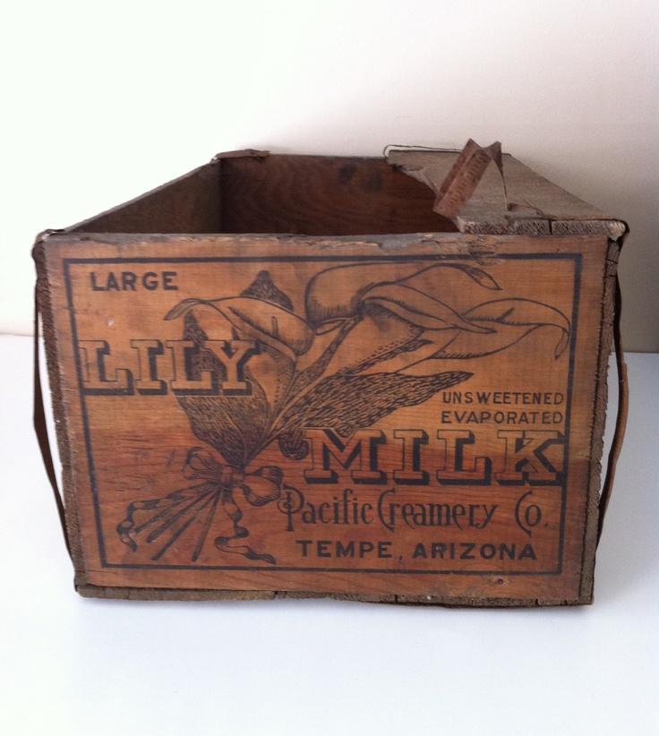 Pacific Creamery (Borden) Lily Milk Wooden Shipping Crate - Tempe Arizona. $40.00, via Etsy.