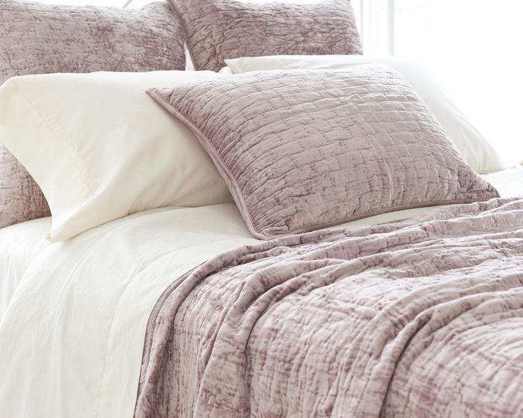 Soft Textured Dusty Plum Purple Washable Velvet Coverlet & Shams @ J Brulee Home