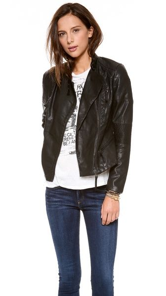Vegan Moto Jacket from Blank Denim - we love this jacket paired with a casual maternity look!
