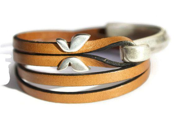 Butterfly Bracelet Nature Bracelet Leather by PepperPotLeatherShop