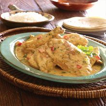 Guatemalan Chicken in Coconut Milk - Pollo en Leche de Coco Take a trip to Guatemala in your kitchen! Chicken pieces are simmered in leche de coco (coconut milk) enhanced with the flavor of sweet onion, bell pepper, and Latin seasonings. With just the right blend of sweet and savory it is utterly irresistible. Serve with rice and warm tortillas, and enjoy the trip!