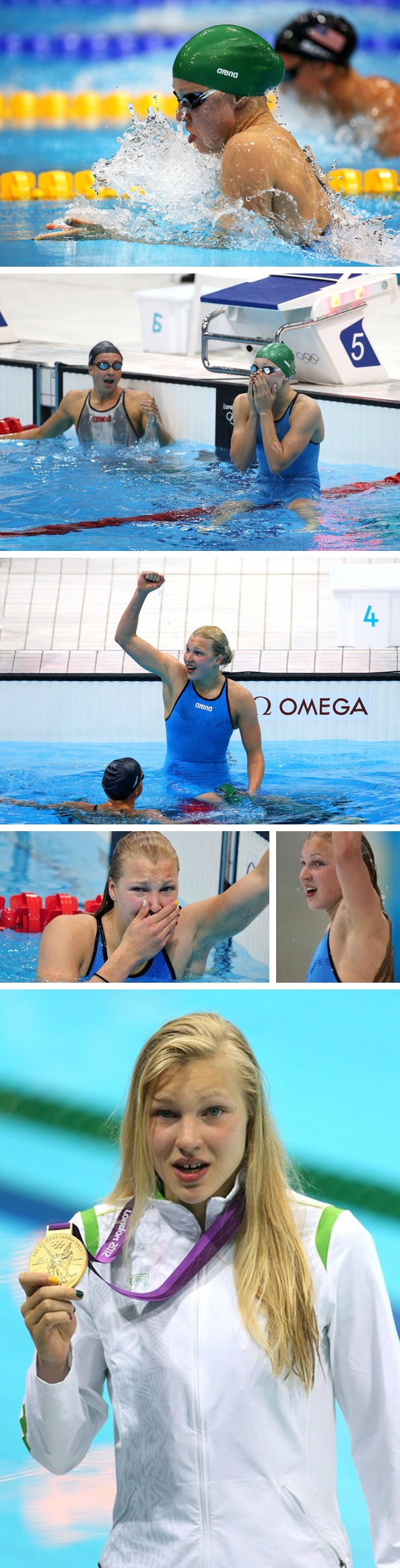 On Day 3, 15 year old Ruta Meilutyte from Lithuania swam the Women's 100m Breaststroke and beat the favourite Rebecca Soni of USA. Young Ruta couldn't quite believe that she had won. She even seemed to be in a state of shock when she received her Gold Medal.