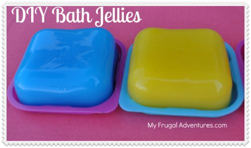 Bath Jellies: 3/4 c water heated till boiling add 1 pkg plain gelatin and stir. Cool 10-15 min. Add 1/2 c bubble bath, add 5-8 essential oil drops, add 2-3 food coloring drops, adding glitter and toys is optional, stir and place in mold and refrigerate 4 hours. So fun!