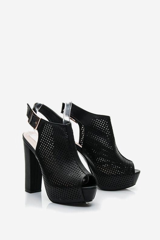 Sandały na obcasie ażurowe Follow czarne
