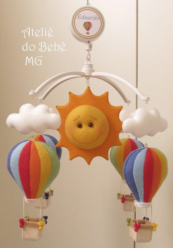 Ateliê do Bebê MG: Móbile Musical Balões ( Eduardo )