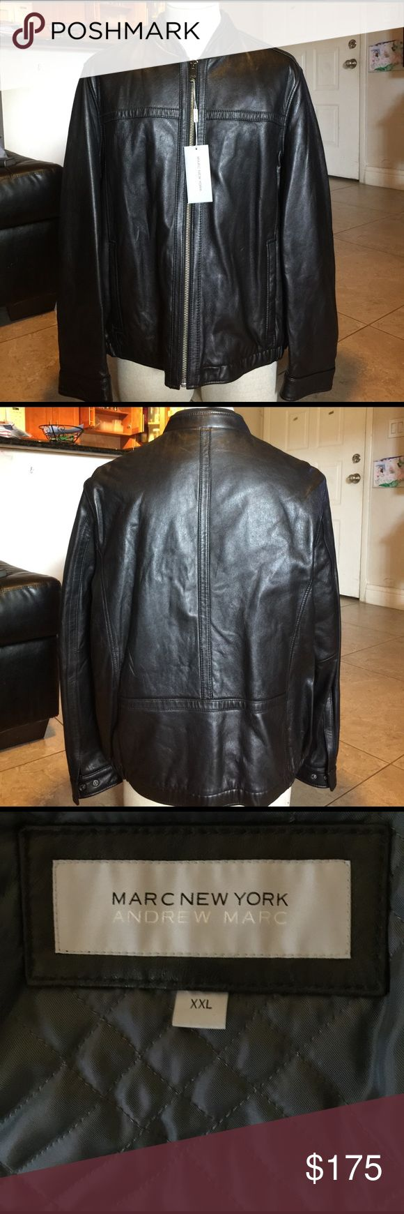 Andrew Marc New York leather jacket Size XXL. New Andrew Marc New York leather jacket Size XXL. Front zipper. Side pocket and pockets inside. No scratches, no wear and no rips. Andrew Marc Jackets & Coats