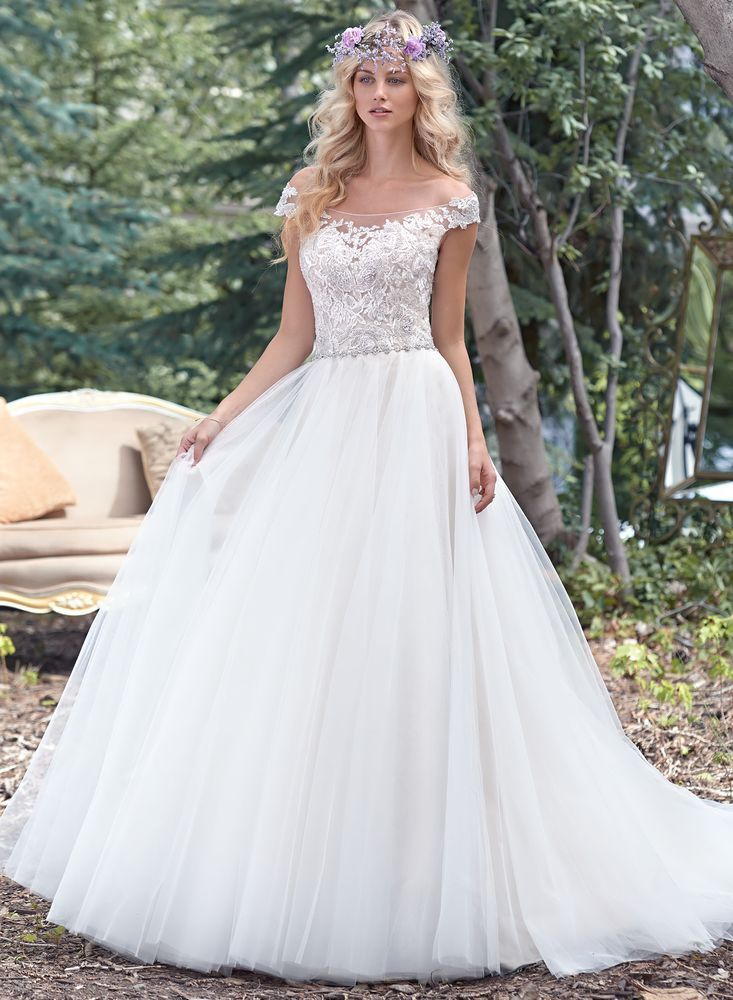 Superb A delicate illusion off the shoulder neckline coupled with a dramatic illusion lace back create glamour in this alluring ball gown wedding dress with