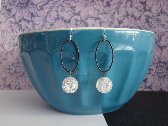 Oval Hoop and Crackle Bead Dangle Earrings by KraftsByKeller, $8.00
