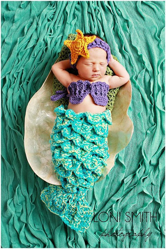 Baby Mermaid Set Starfish Headband Shells by WarmFuzzyBoutique