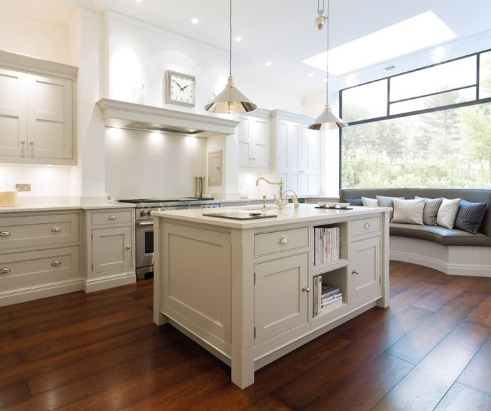 Hartford Painted Kitchen - Bespoke Kitchens � Tom Howley. Love the lights. Storage for books in the island. Centre prep bowl