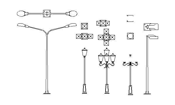 Tipos de Postes de Iluminação Pública — Bloco Autocad