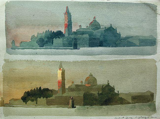 Safet Zec . Isola di San Giorgio, Venice . Watercolor and gouache on paper