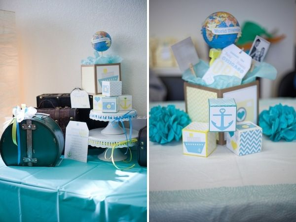 A modern world traveler themed boy baby shower boy baby for Baby shower modern decoration