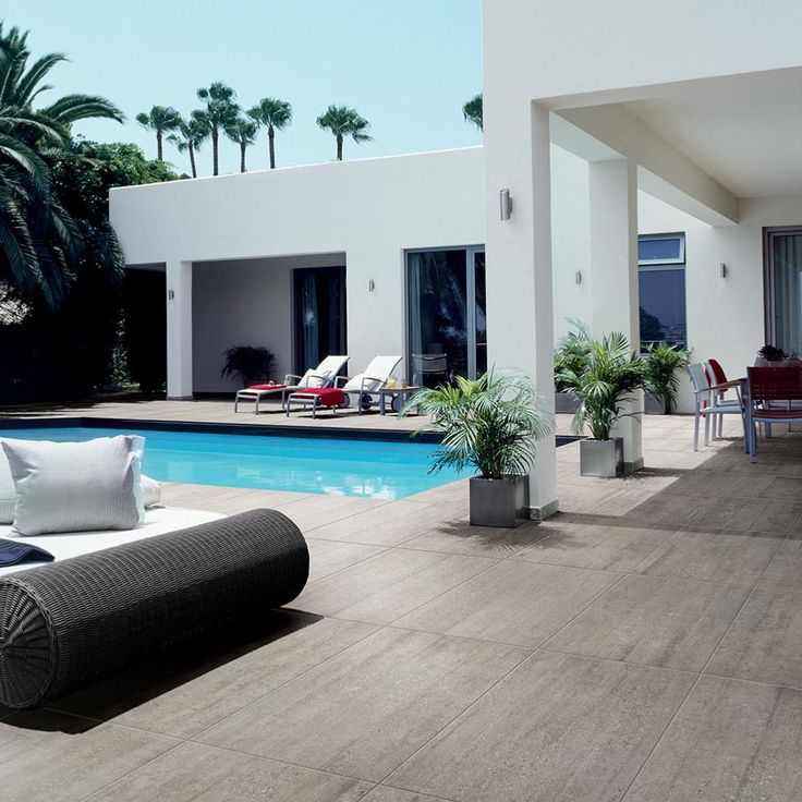 Carrelage extérieur effet béton pour terrasse et excursion de piscine 45,5×91 Gray Out, Busker ASCOT