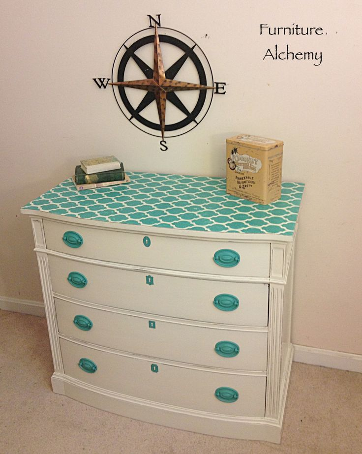 turquoise painted furniture ideas. Turquoise And White Painted Dresser, Stenciled Dresser Ideas, By Furniture Alchemy Ideas R