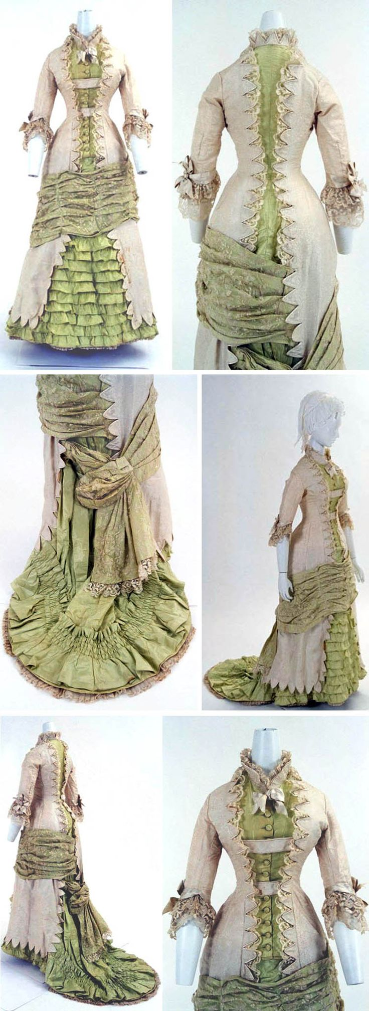 Dress, French, ca. 1880s. Princess-line, one piece. Bunka Costume Museum