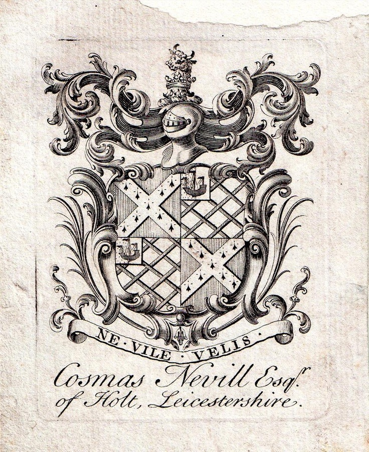 18th Century Bookplate of Cosmas Nevill, Esq. of Holt, Leicestershire, England