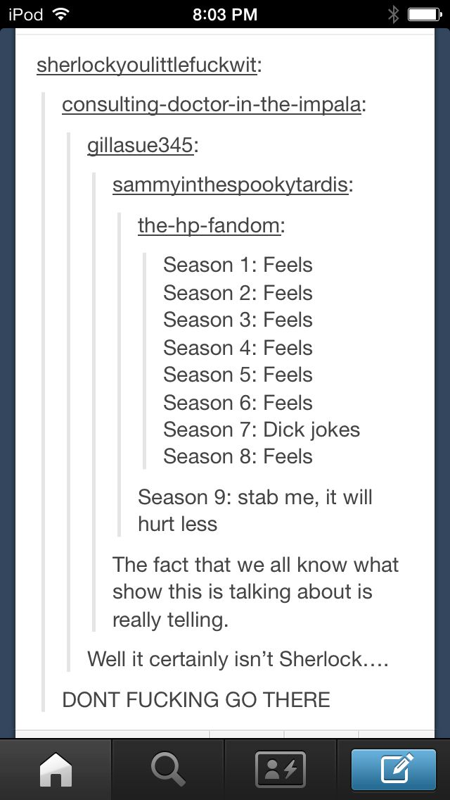 Well, considering that no other fandom HAS nine seasons!!!!!!!!! *sniffs*///Well . . . << Seriously? .-.