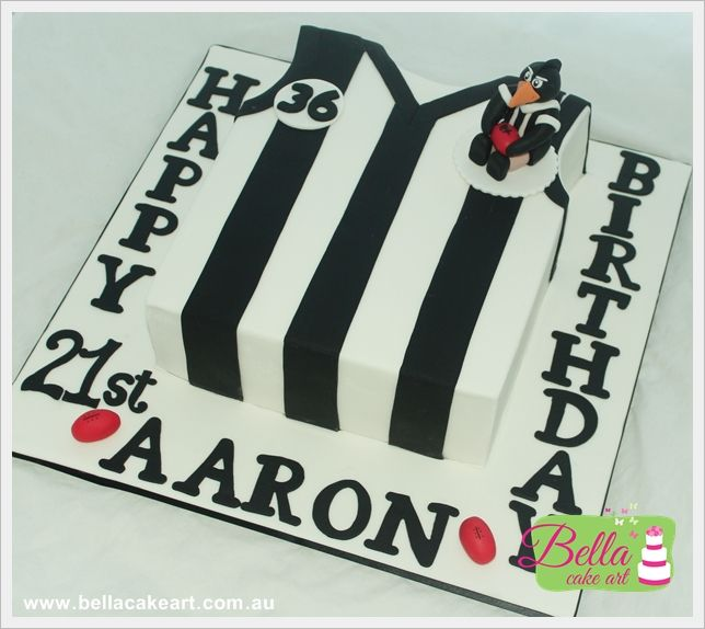 Collingwood jersey cake with handmade edible figurine