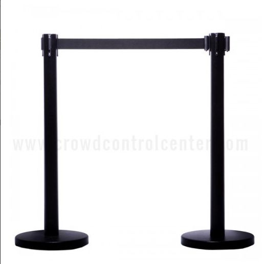 Buy Arena Version in Black Powder Coated Steel Belt Stanchions from Crowd Control Center, An online retractable crowd control product and equipment store US.