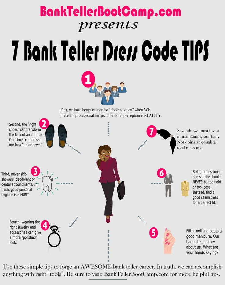 Learn 7 Bank Teller Dress Codes Tips. Land a new bank teller job...