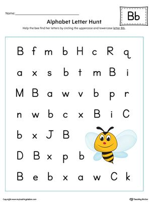 **FREE** Alphabet Letter Hunt: Letter B in Color Worksheet. The Alphabet Letter Hunt: Letter B in Color is a fun activity that helps students practice recognizing the uppercase and lowercase letter B.