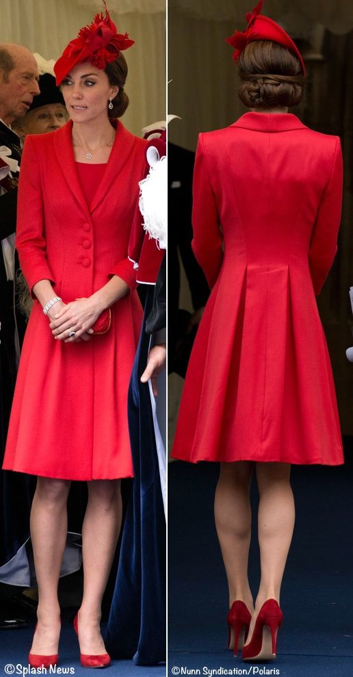 Kate in Rich Red Pieces & Diamond Wedding Earrings for Order of the Garter