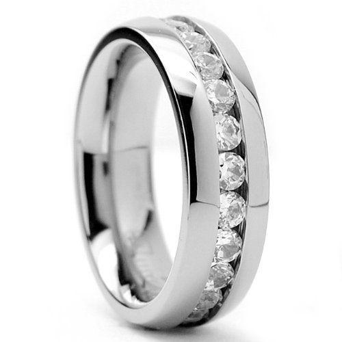 Titanium CZ Wedding Band Womens Wedding Ring by Cloud9Tungsten, $52.00