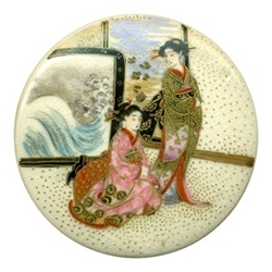 """ButtonArtMuseum.com -  Japanese Satsuma buttons 1890-1910 Utterly amazing button! Two woman posing in front of Japanese prints - suggests the famous print by Hokusai, """"The Wave"""" 1830-33. The button is not that old, but the heavy gold, and well placed gold dots suggest old Satsuma, not modern. if I could only have 1 Satsuma, This might be the One."""