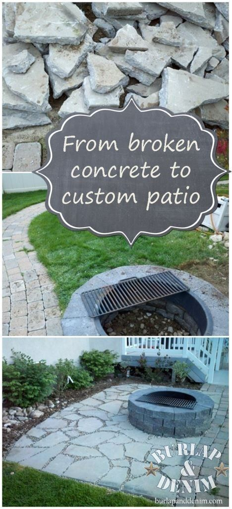 DIY Recycled Concrete Patio - How awesome did this turn out?  On the lookout for discarded old pieces of concrete.  Wonder how it'd look surrounding the frog pond?