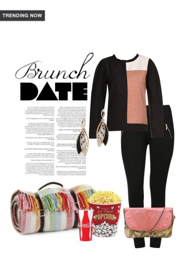 'Brunch Date' by me on Limeroad featuring Pink Clutches, Black Jeggings with Stone Gold Earrings