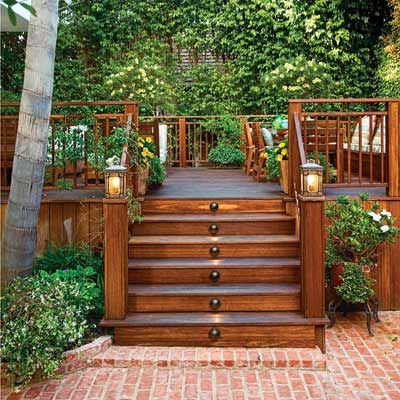 A sprawling deck provides a