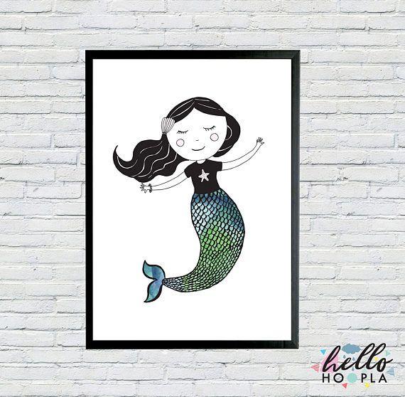 Mermaid Poster  300gsm Cardstock  Scandinavian
