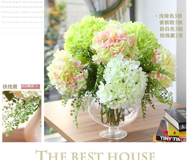 СТРОИТЕЛЬНЫЙ цветы гортензии искусственные цветы шелк цветок высококлассные гостиной журнальный столик украшения цветок ресторан мебель для спальни -tmall.com Lynx