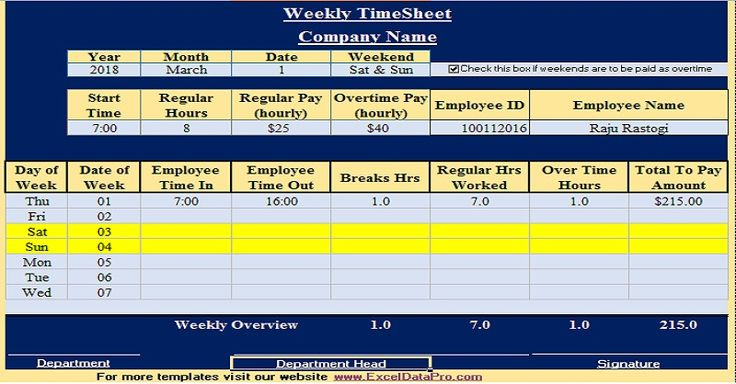 Download Weekly Timesheet Excel Template