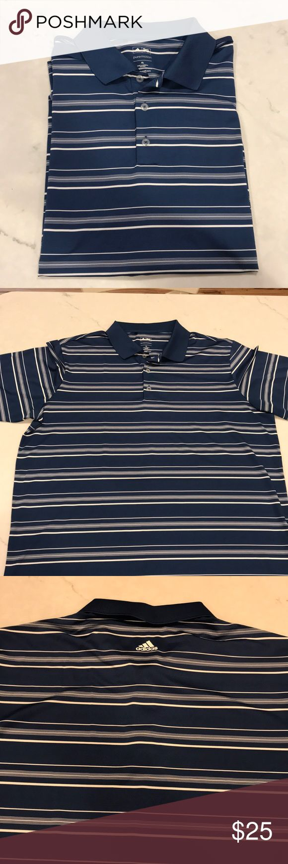 Men's Adidas Golf / Polo Shirt Navy and White striped men's golf shirt. Excellent condition. Like new. adidas Shirts Polos