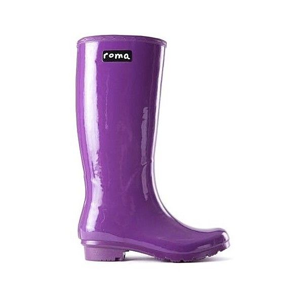 Roma Boots Glossy Purple Rain Boots ($89) ❤ liked on Polyvore featuring shoes, boots, purple, wellies shoes, shiny shoes, rain boots, purple rain boots and purple boots