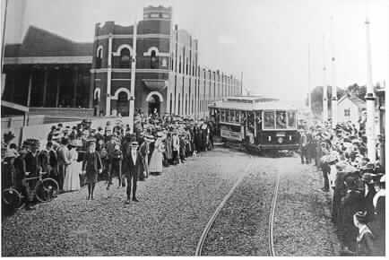 First tram leaving Malvern Tram Depot, 30 May 1910.