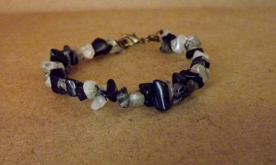 Nyx Goddess Bracelet with Tourmaline Quartz  Blue by Mythfolk, $11.95