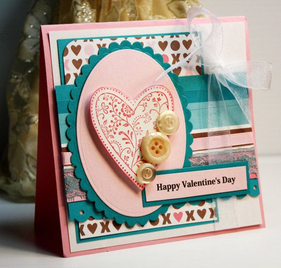 Handmade Card - Greeting Card - Happy  Valentine's Day - Stampin Up -  OOAK. via Etsy.