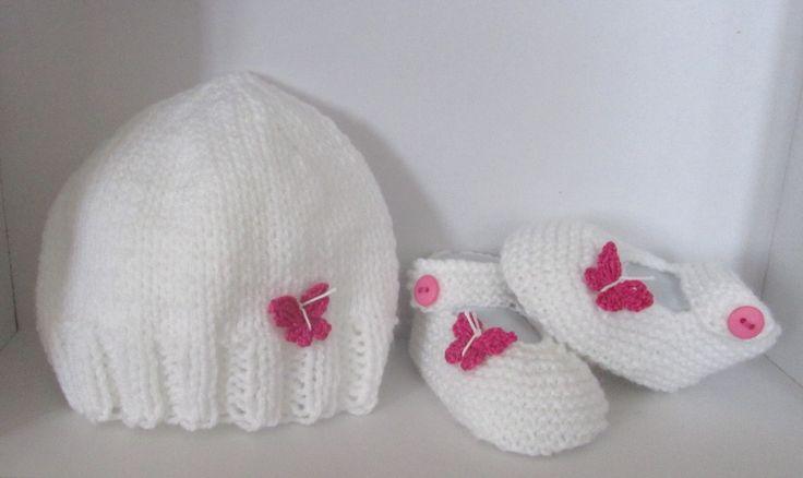 Ensemble Bonnet Chaussons/babies 0/3 mois tricoté main : Mode Bébé par il-suffira-d-un-fil-