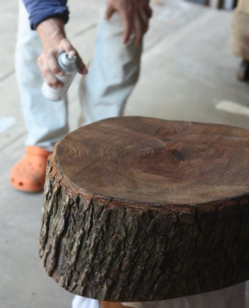 How to preserve the bark on a tree stump make a table or stool out of it.