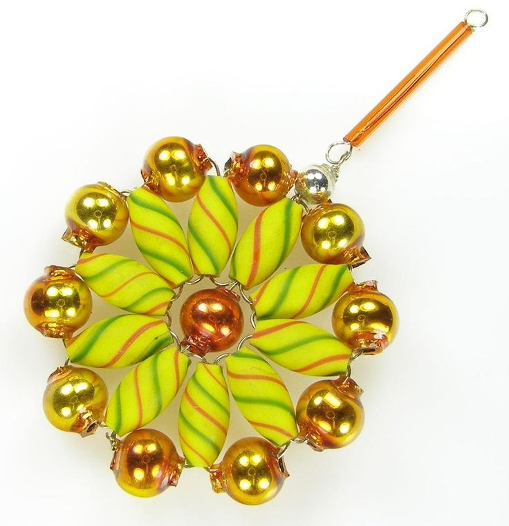 """Old Blown Hollow Glass Beads Wired Czech Christmas Decoration FLower 3"""" 78mm"""