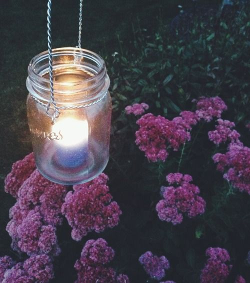 hanging mason jar with a citronella candle