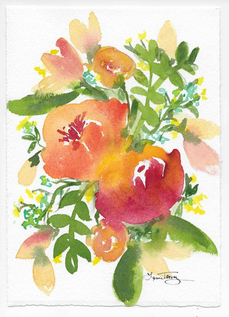 "Spring Fusion Watercolor is part of my new Spring Series. ""The Earth Laughs in Flowers"" Ralph Waldo Emerson - Colorful, happy and inspiring. Paper size is 5"" x 7"" with natural deckled edge showing."