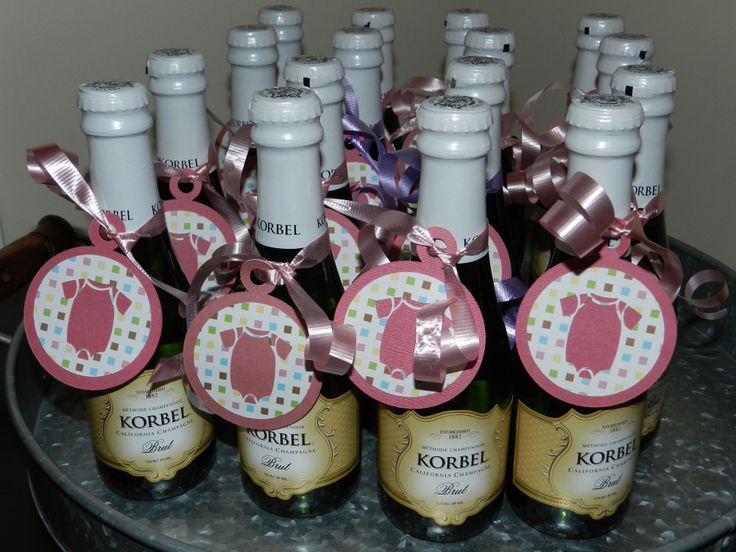 """Couples baby shower favors - tag on the back says """"When [Mom], [Dad], and Baby make three, raise a toast to the new family.  To the sparkling future of [Baby's Full Name]."""""""