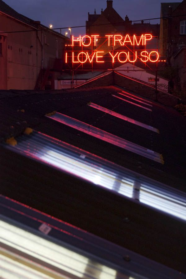Victoria Lucas and Richard William Wheater created neon text on the roof of the Neon Workshop in Wakefield, West Yorkshire.