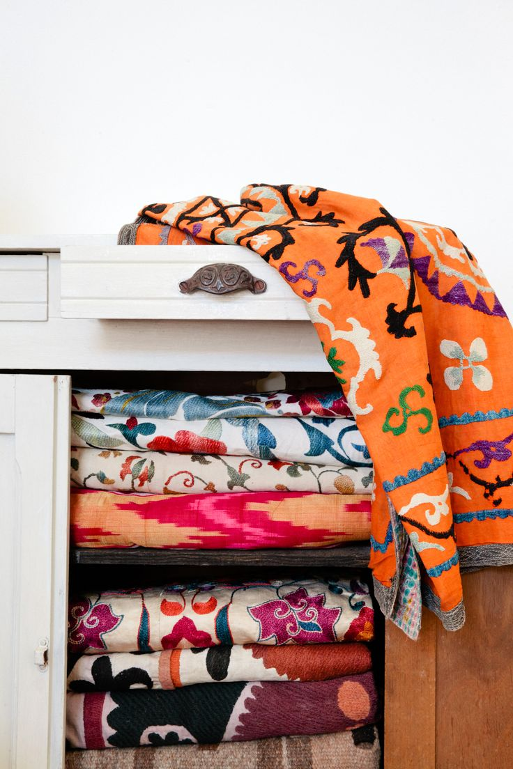 Vintage Suzanis from Uzbekistan Project Bly  Would be amazing to have a linen cabinet with blankets like these. Towels and bed sheets.