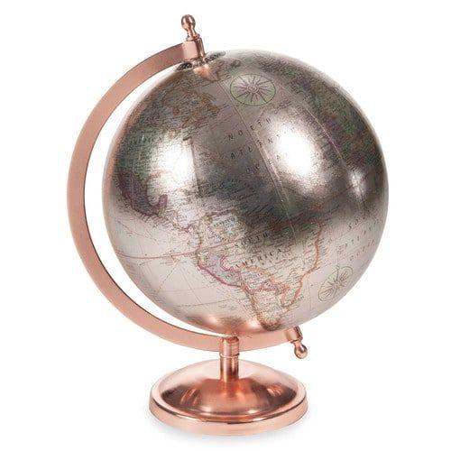 Wereldbol H 29 cm COPPER GLACE