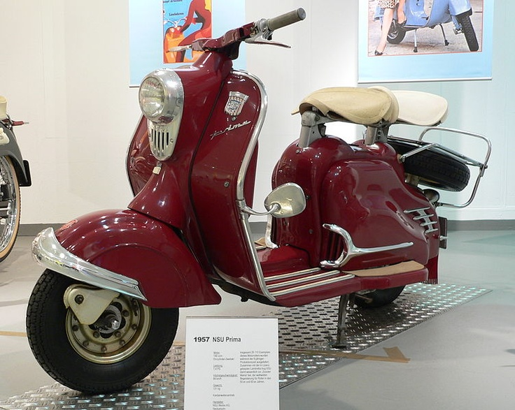1957 NSU Prima. Germany. NSU's license to build Lambretta scooters expired in 1955, and NSU engineers created their own version.